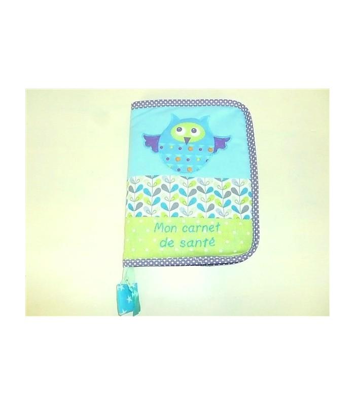 Protège-carnet de santé zippé bleu hibou
