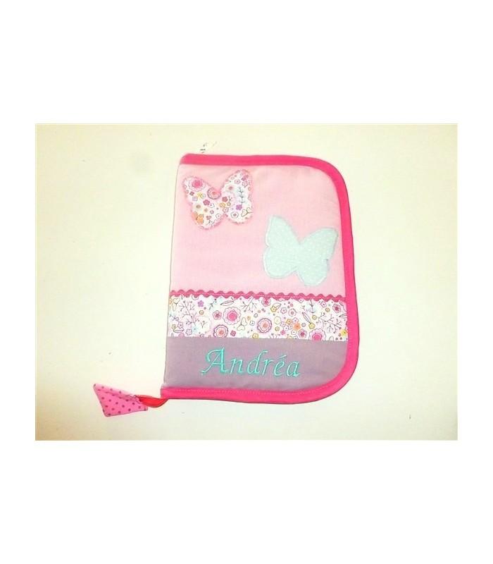 Protège-carnet de santé zippé personnalisé rose liberty papillons