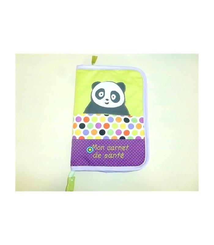 Protège-carnet de santé zippé personnalisé vert anis panda