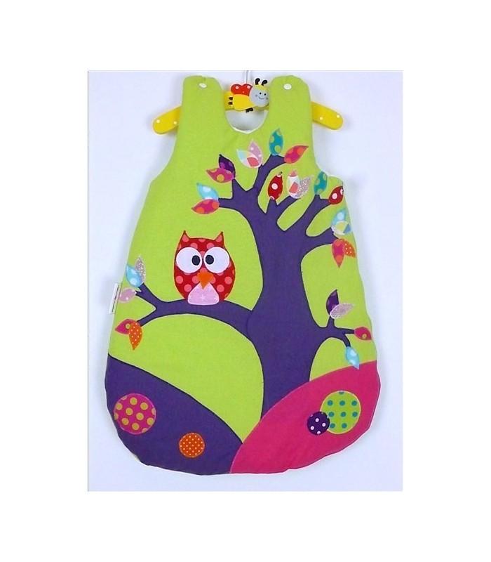 """Gigoteuse """"Hiboux dans l'arbre"""" fond vert anis et violet"""