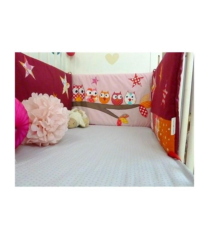 """Tour de lit rose """"Hiboux sur la branche"""""""
