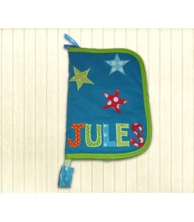 Protège-carnet de santé zippé personnalisé bleu étoilé