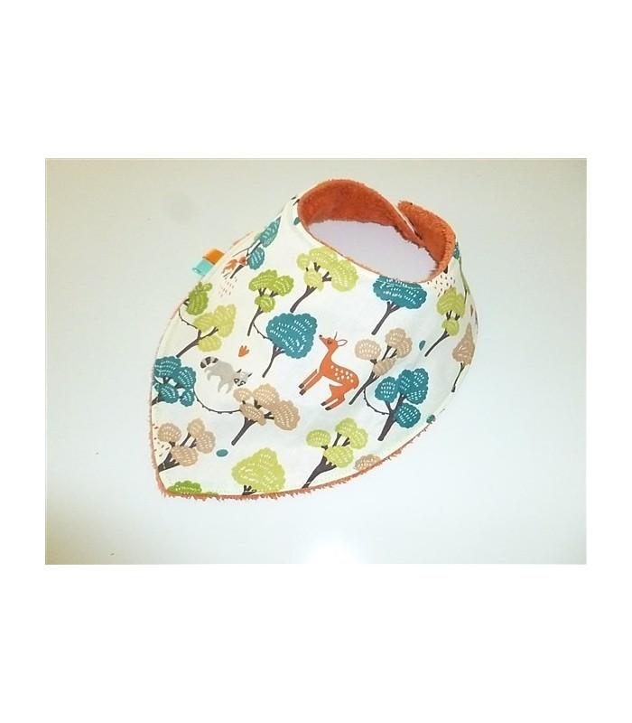 Bavoir bandana forêt colorée