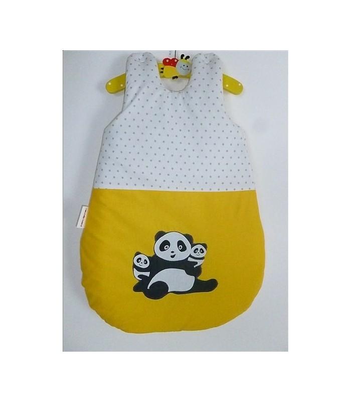 "Gigoteuse ""Famille Panda"" fond jaune"
