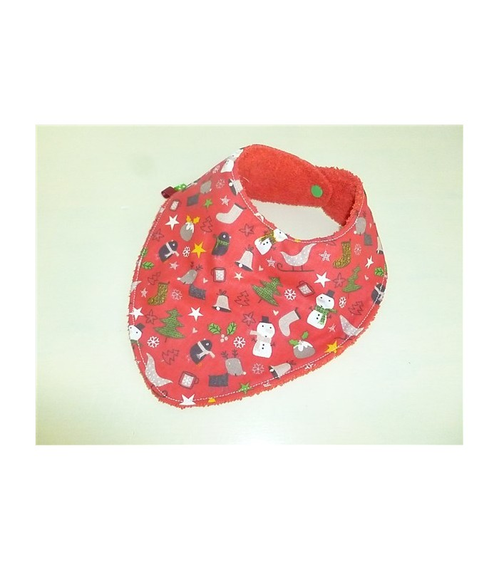 "Bavoir bandana rouge ""Noël"""