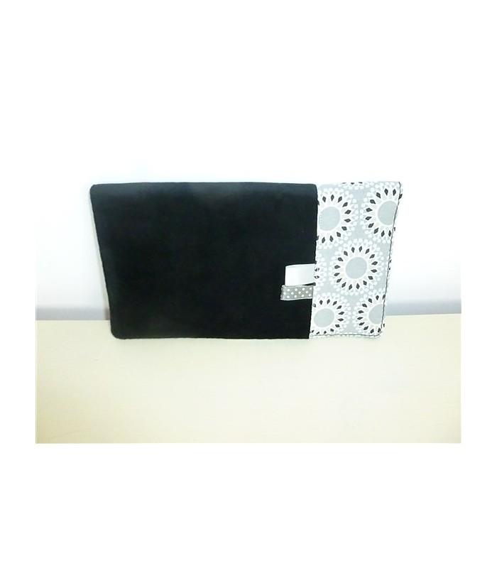 Porte chéquier et porte cartes noir et gris