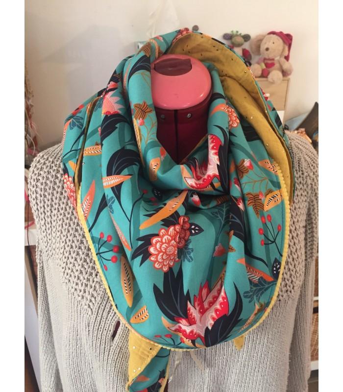 Chèche «fleurs et palmes» turquoise et fuchsia